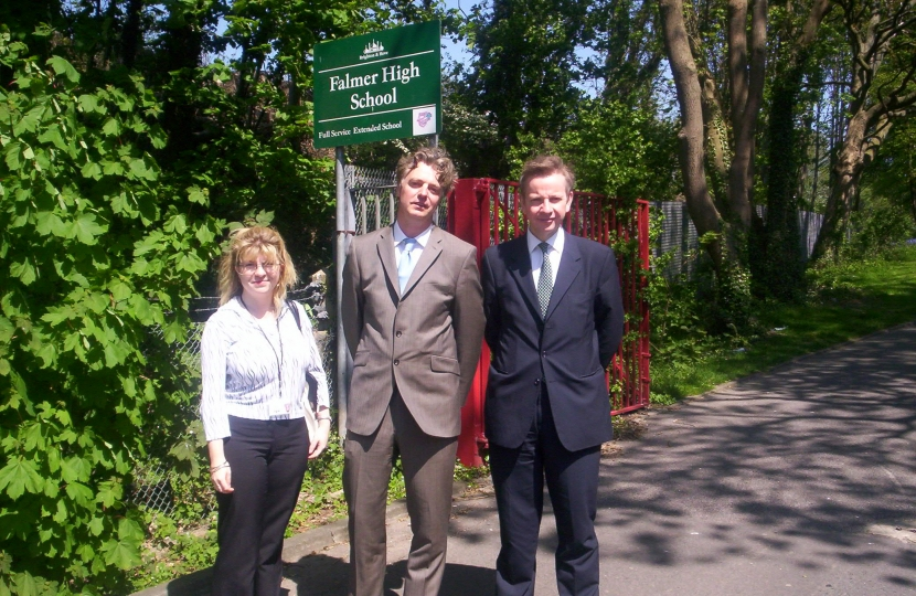 With Michael Gove MP and Simon Kirby MP at the old Falmer High school