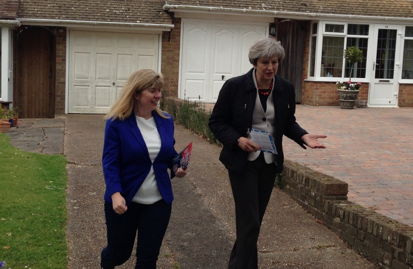 Prime Minister Theresa May and Maria Caulfield Lewes Conservative Candidate
