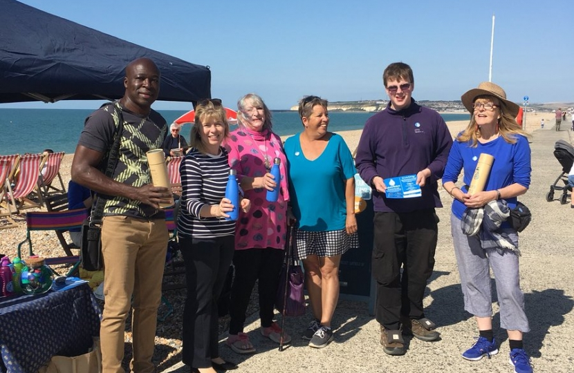 Maria Caulfield at the Refill Scheme launch on Seaford Beach