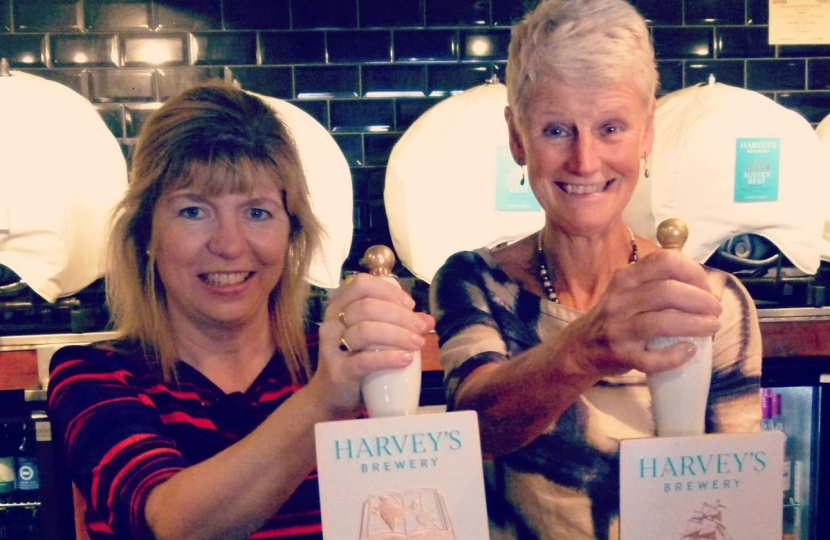 Maria Caulfield and Brigid Simmonds at Harvey's Beer Day
