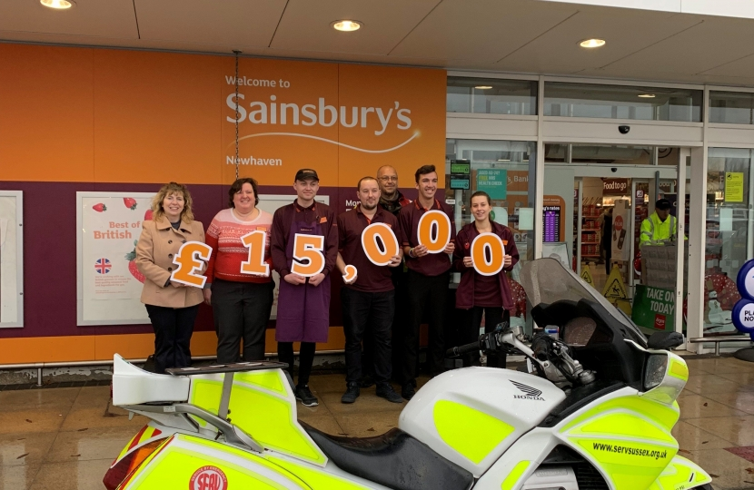 Maria Caulfield with SERV at Sainsbury's Newhaven