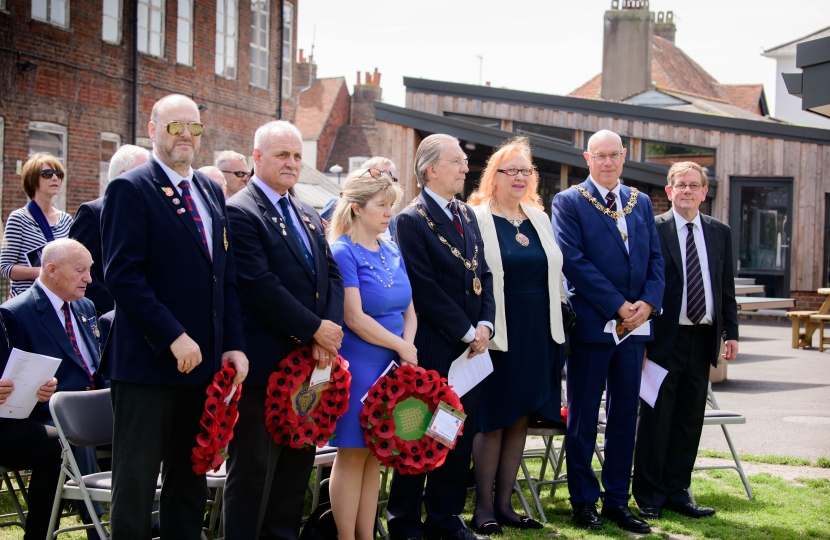 Maria Caulfield MP and others at the dedication of the Lewes Old Grammar School War Memorial