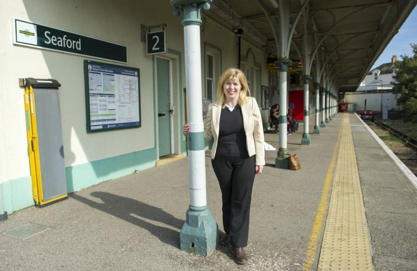 Maria Caulfield at Seaford railway station